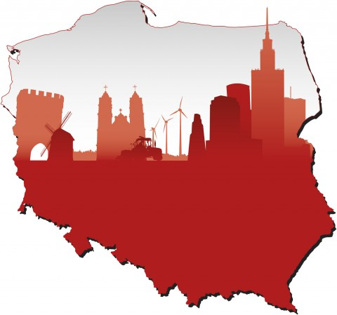 Poland map in flag colours and symbols of business and history of state